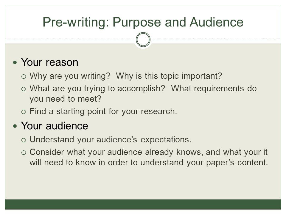 Pre-writing: Purpose and Audience