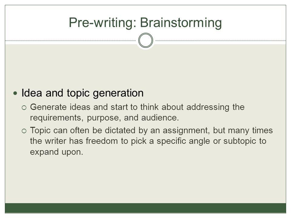 Pre-writing: Brainstorming