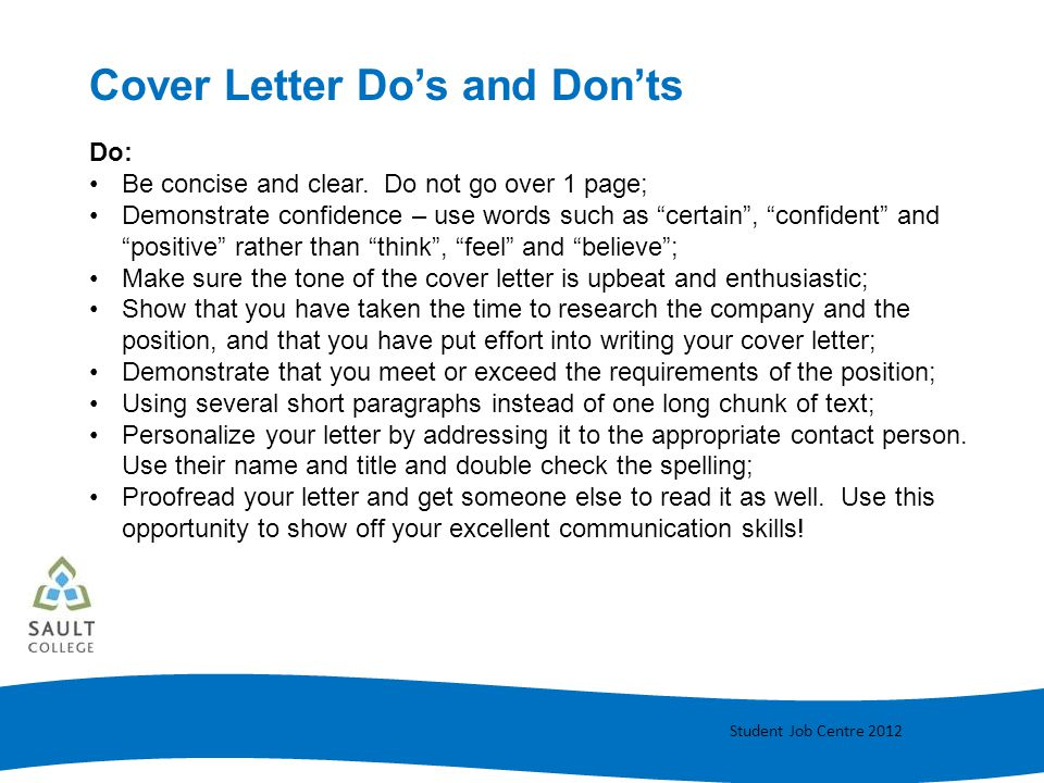 Cover Letter Do's and Don'ts