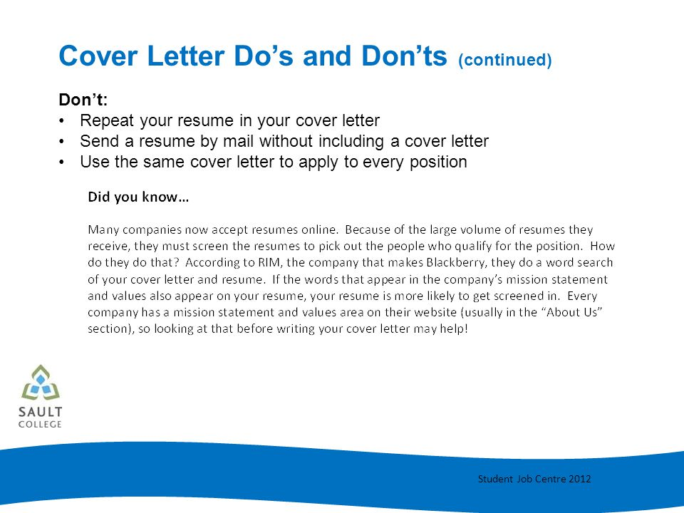 Cover Letter Do's and Don'ts (continued)