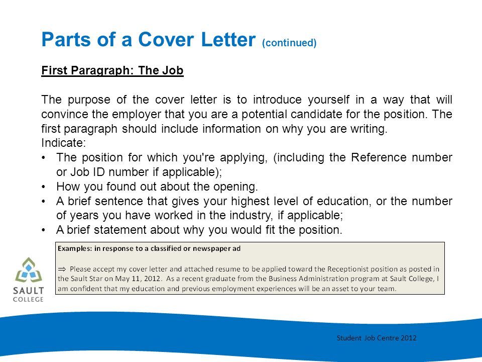 Parts of a Cover Letter (continued)