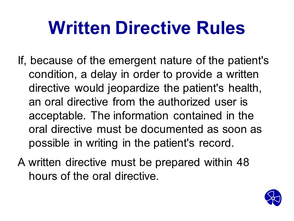 Written Directive Rules
