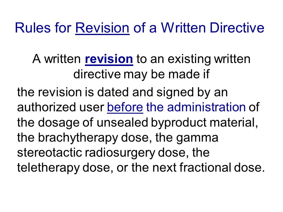 Rules for Revision of a Written Directive