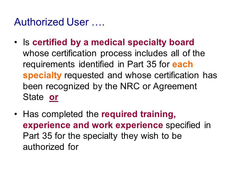 Authorized User ….