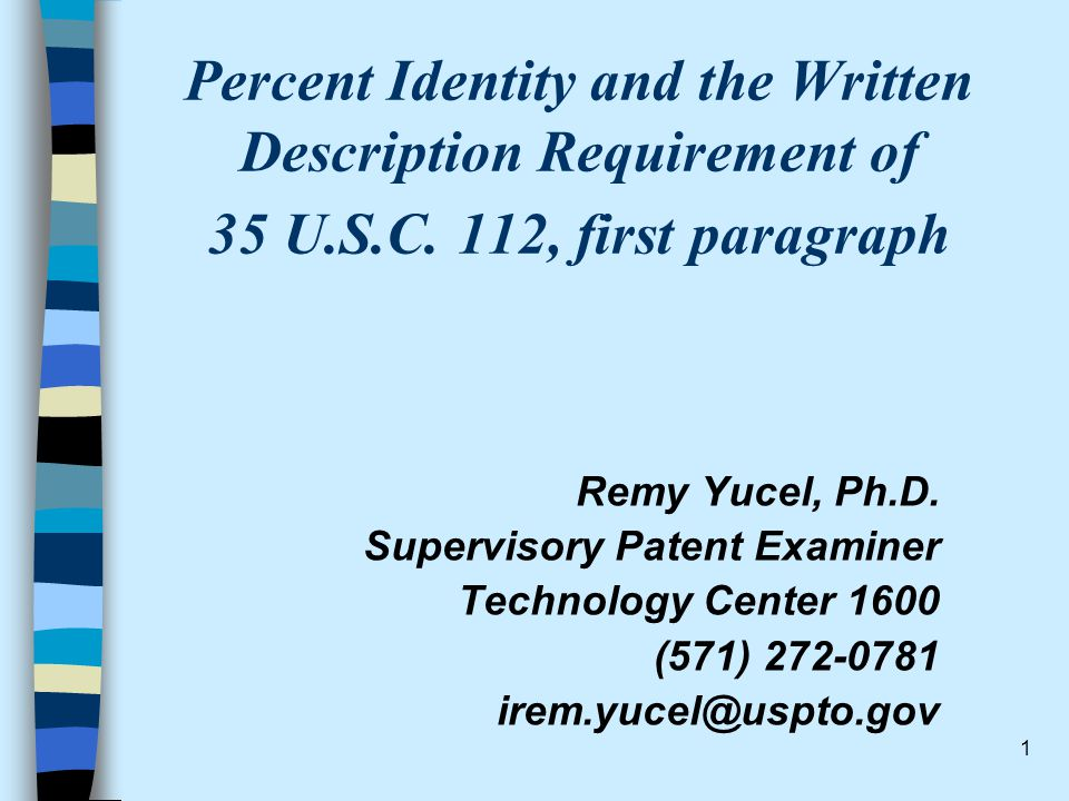 Percent Identity and the Written Description Requirement of 35 U. S. C