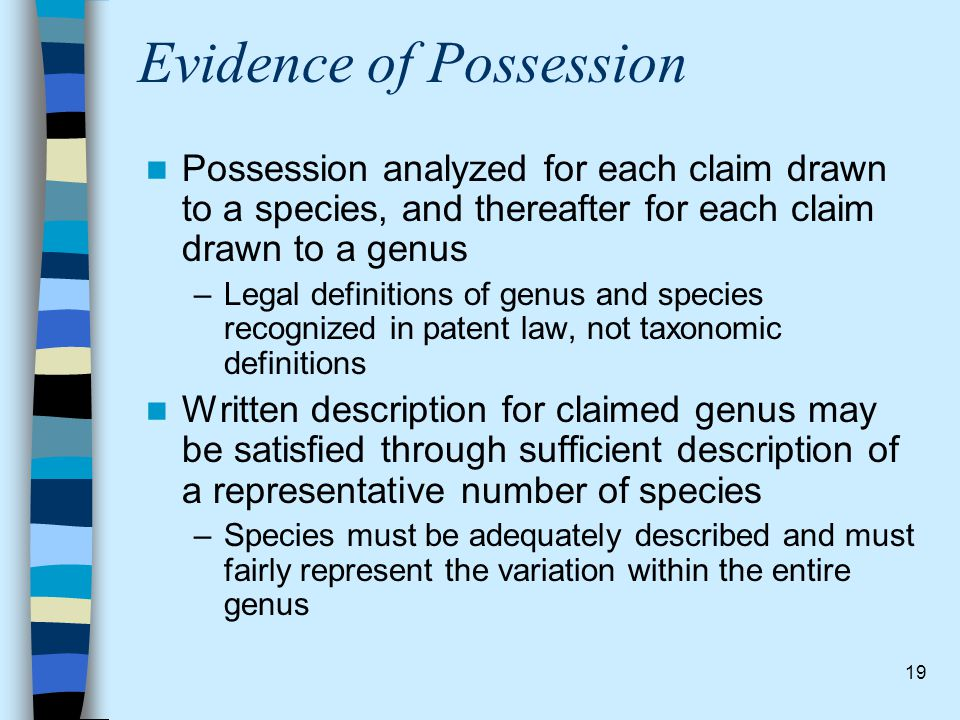 Evidence of Possession