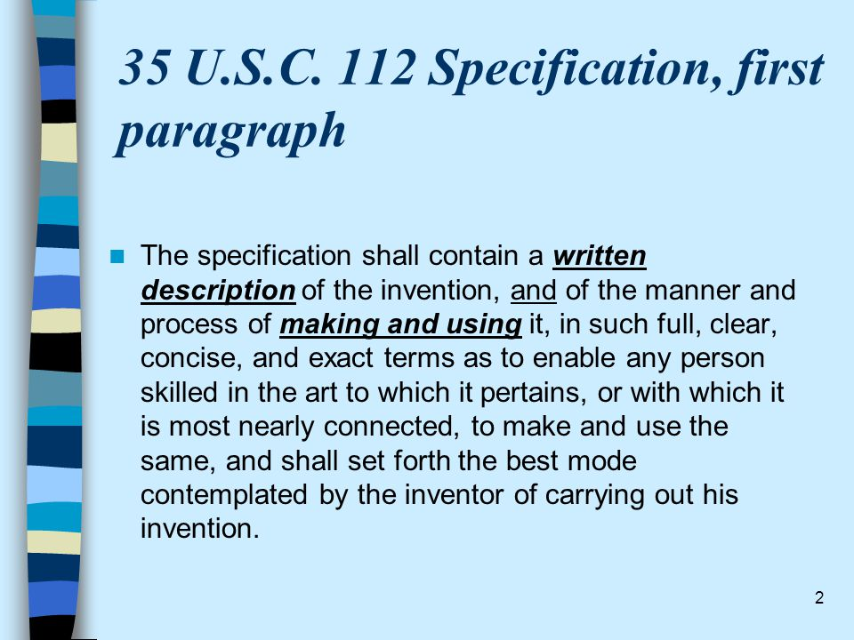 35 U.S.C. 112 Specification, first paragraph