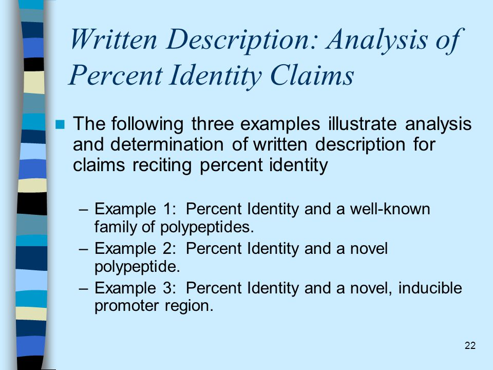 Written Description: Analysis of Percent Identity Claims