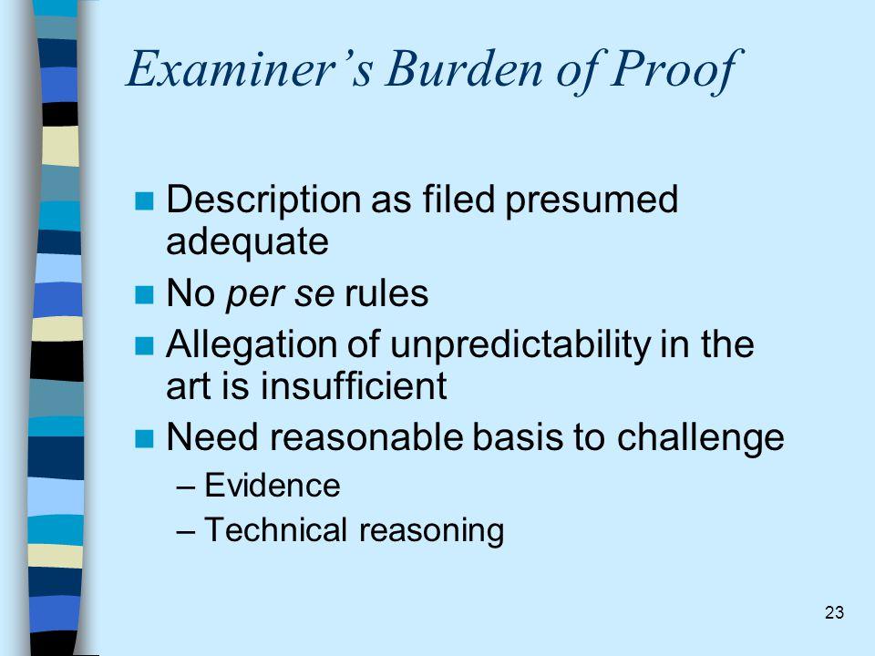 Examiner's Burden of Proof