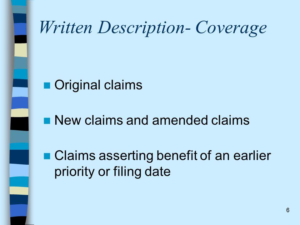 Written Description- Coverage