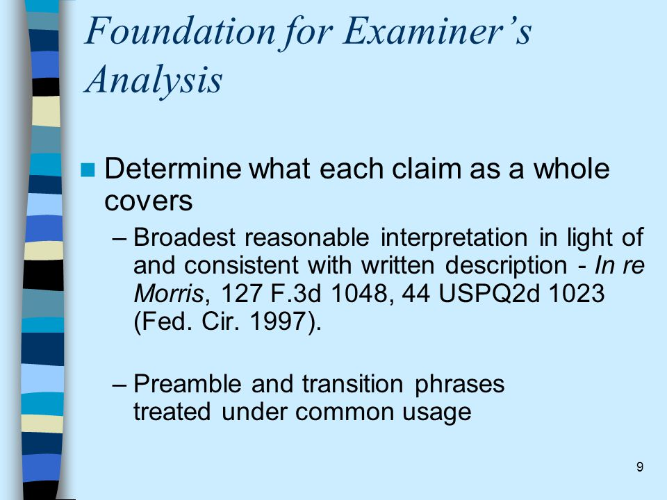 Foundation for Examiner's Analysis