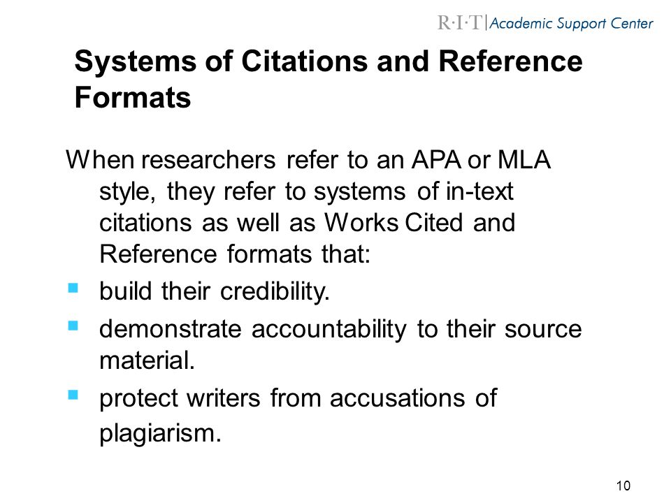 Systems of Citations and Reference Formats