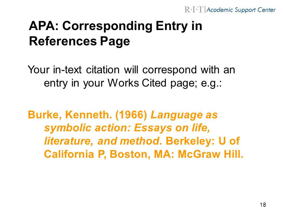 APA: Corresponding Entry in References Page