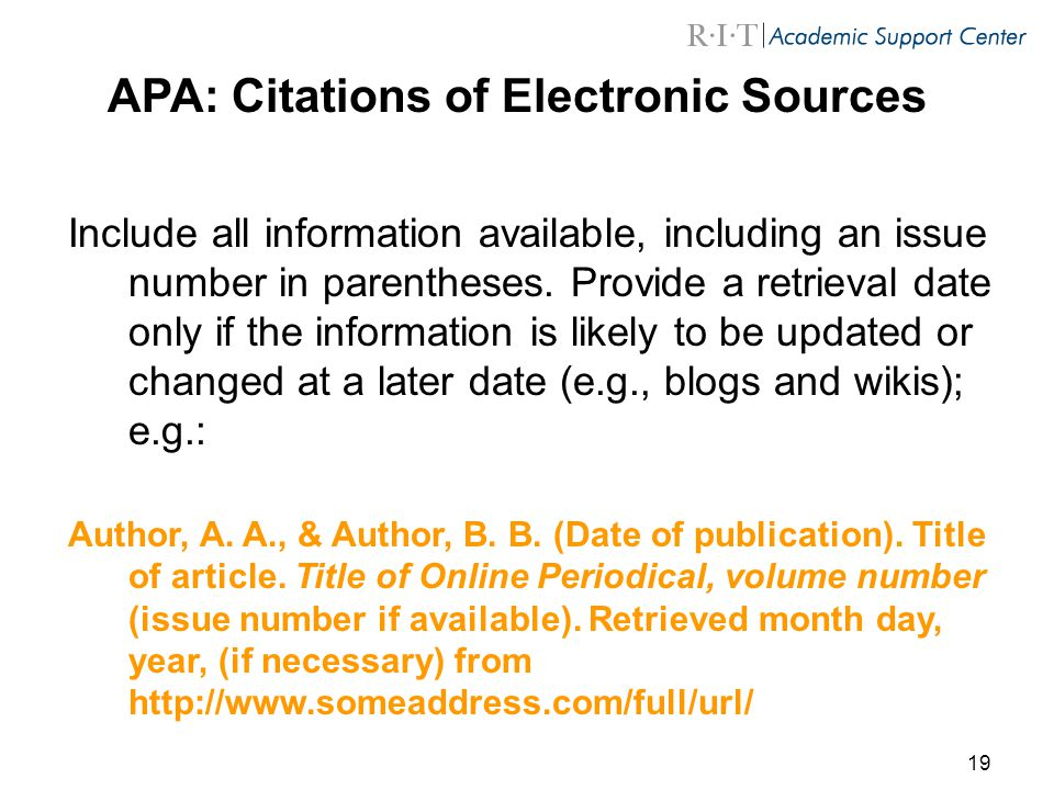 APA: Citations of Electronic Sources