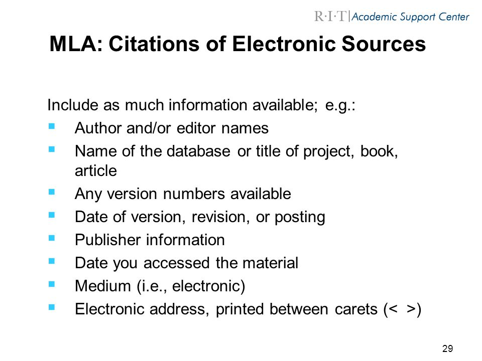 MLA: Citations of Electronic Sources