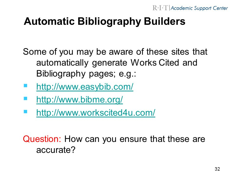 automatic bibliography Fast and free citation generator apa 6th ed • mla 8th ed • chicago 16th ed  this page should appear immediately before the bibliography page.