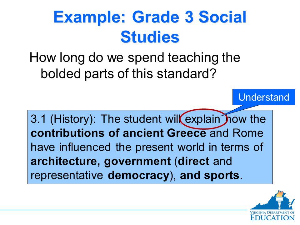 Example: Grade 3 Social Studies