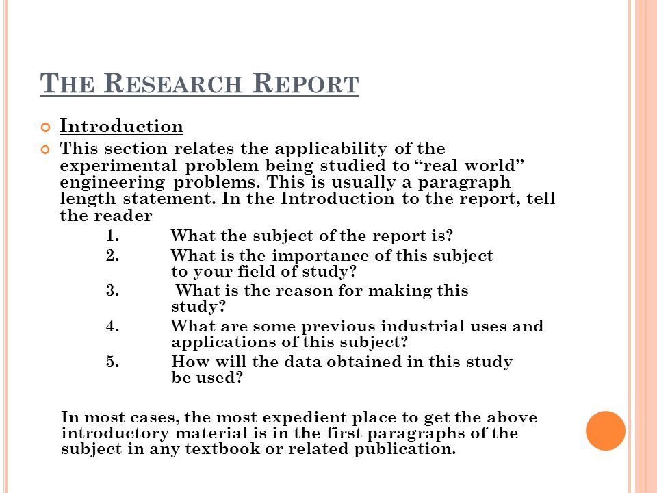 The Research Report Introduction