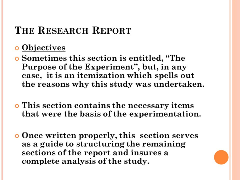 The Research Report Objectives