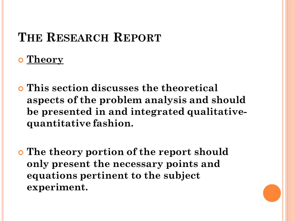 The Research Report Theory