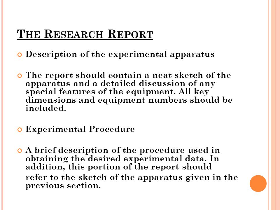 The Research Report Description of the experimental apparatus