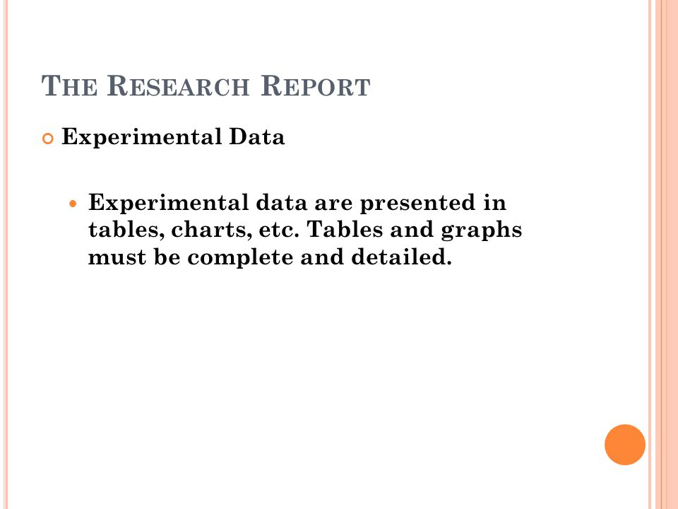 The Research Report Experimental Data