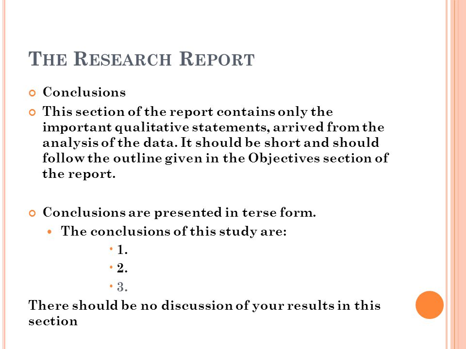 The Research Report Conclusions