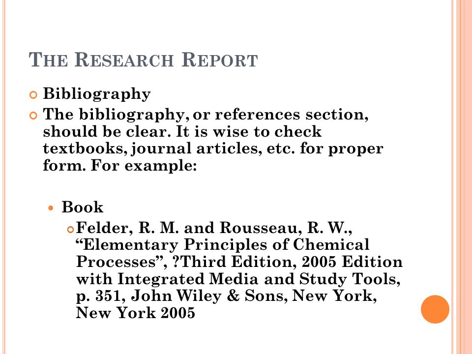 The Research Report Bibliography