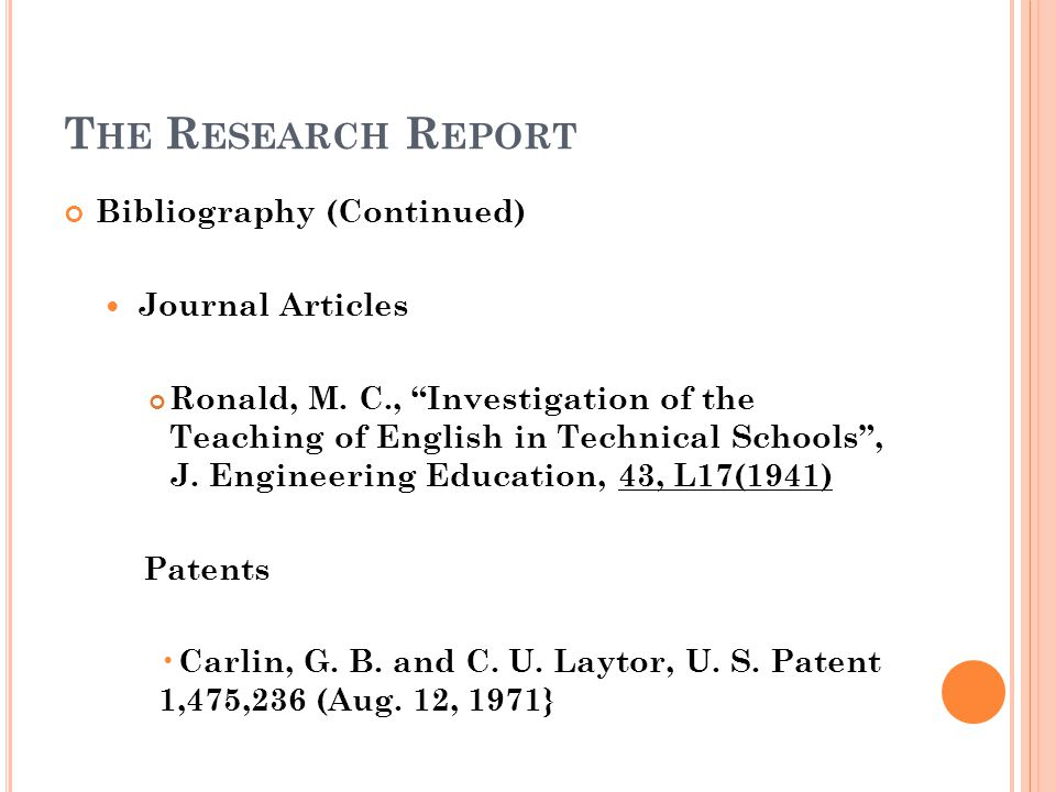 The Research Report Bibliography (Continued) Journal Articles