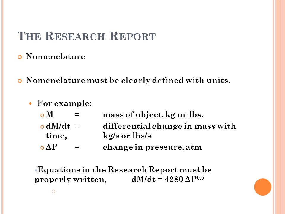 The Research Report Nomenclature