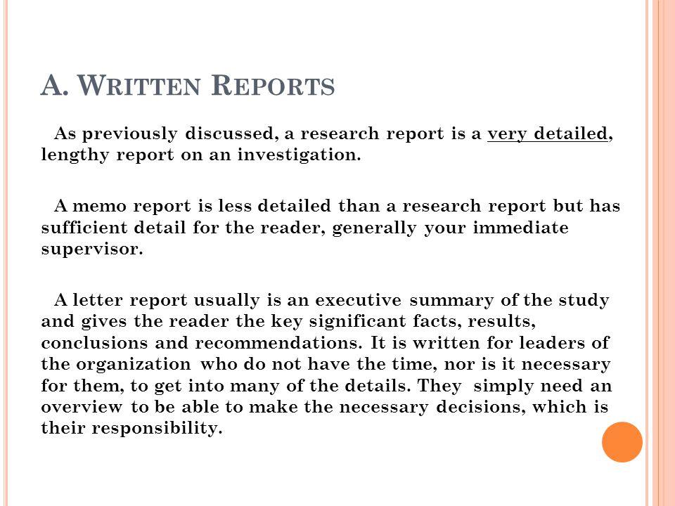 A. Written Reports