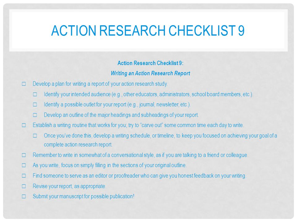 Action research checklist 9