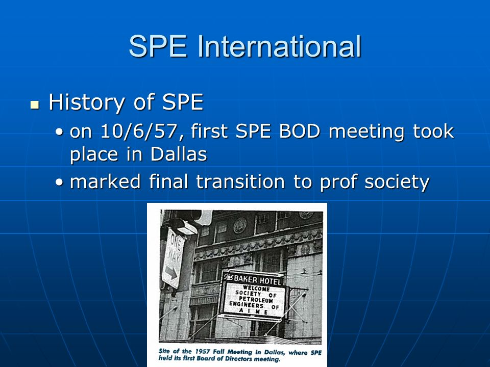 SPE International History of SPE