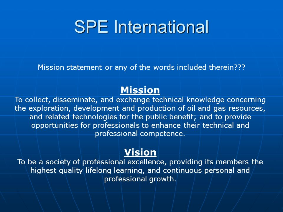 Mission statement or any of the words included therein