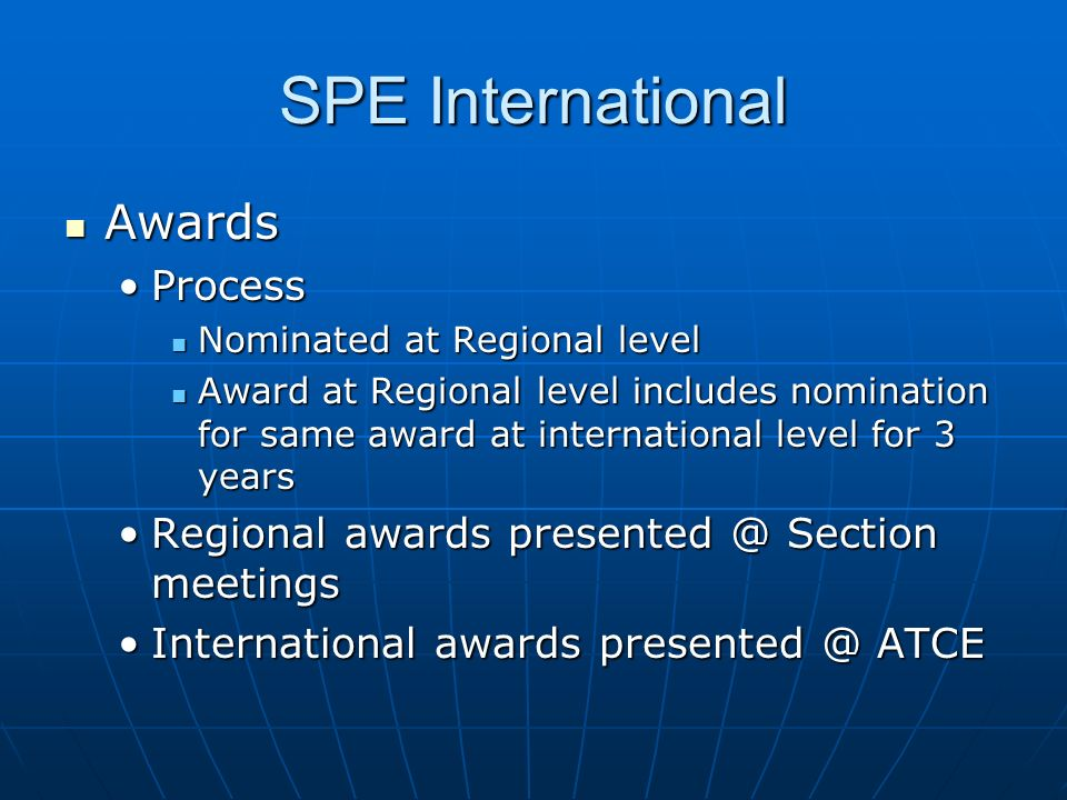SPE International Awards Process