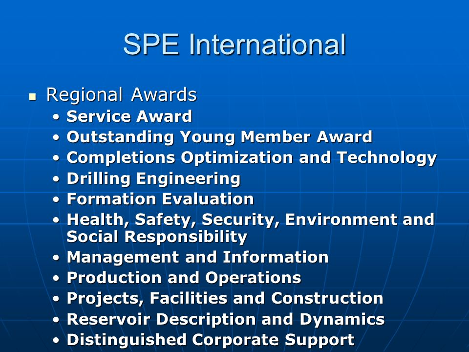 SPE International Regional Awards Service Award
