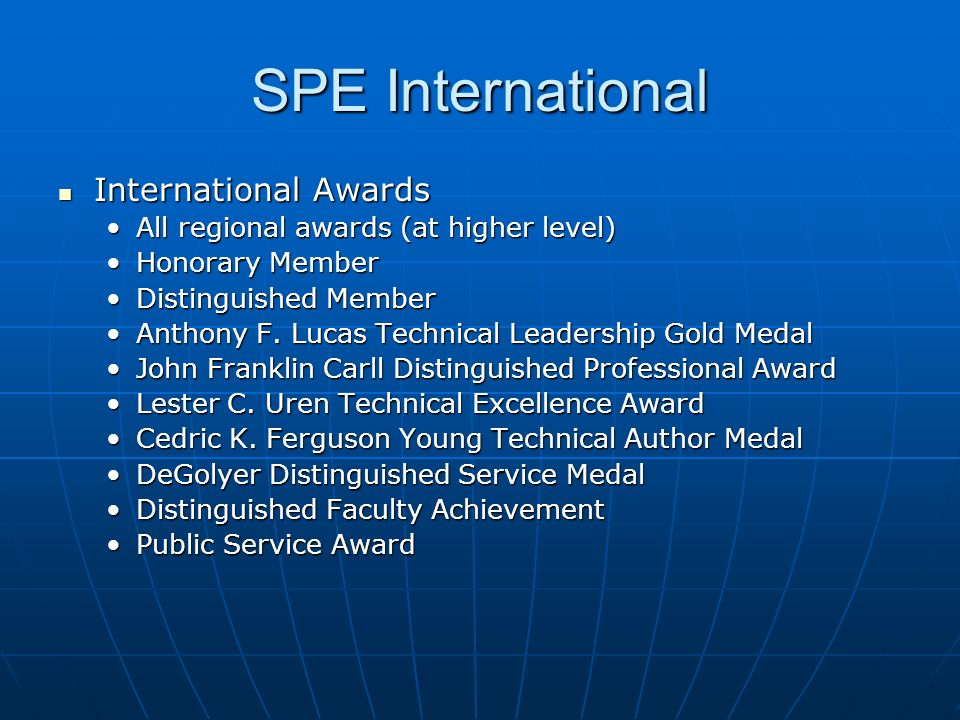 SPE International International Awards