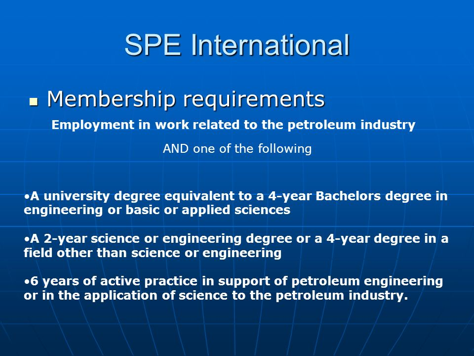 Employment in work related to the petroleum industry