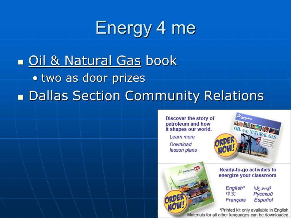 Energy 4 me Oil & Natural Gas book Dallas Section Community Relations