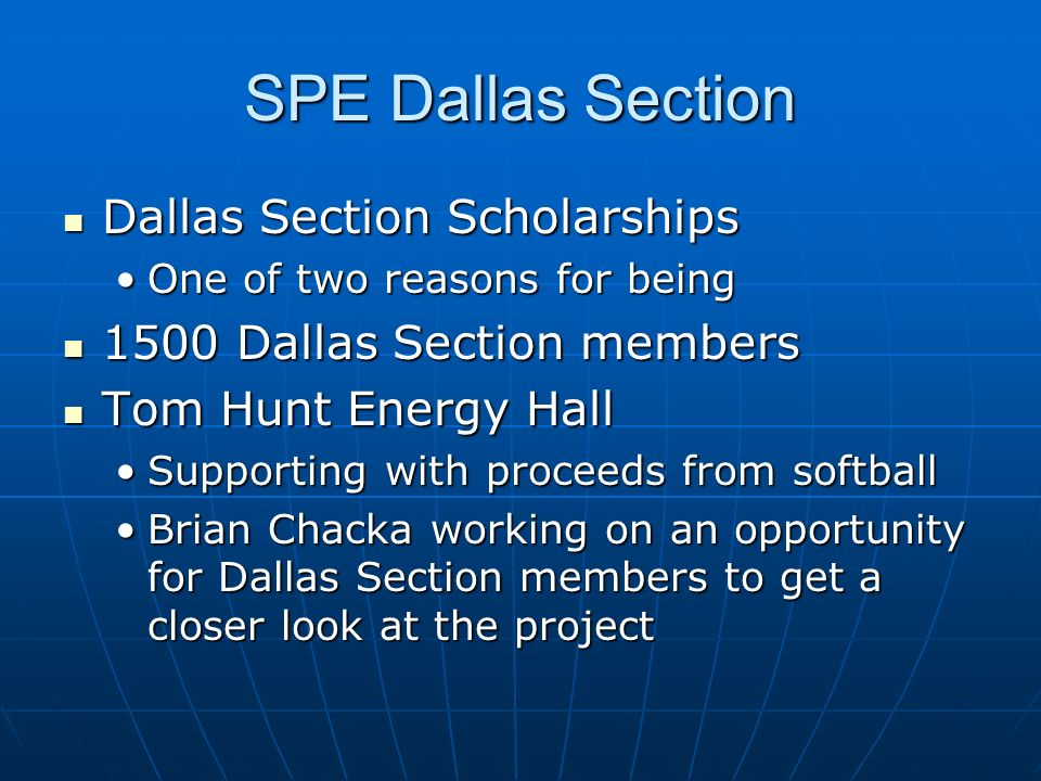 SPE Dallas Section Dallas Section Scholarships