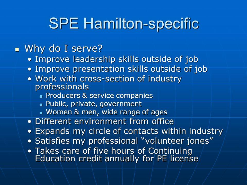 SPE Hamilton-specific