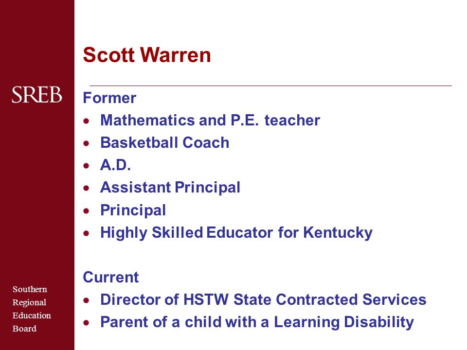 Scott Warren Former Mathematics and P.E. teacher Basketball Coach A.D.