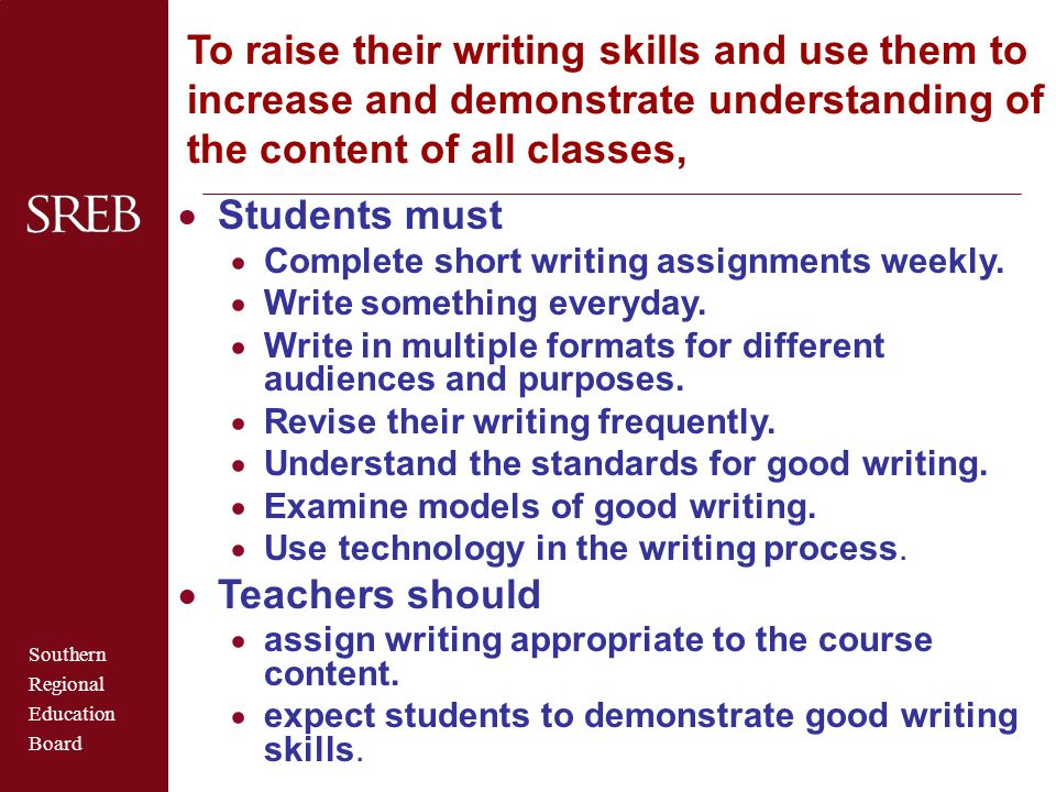To raise their writing skills and use them to increase and demonstrate understanding of the content of all classes,