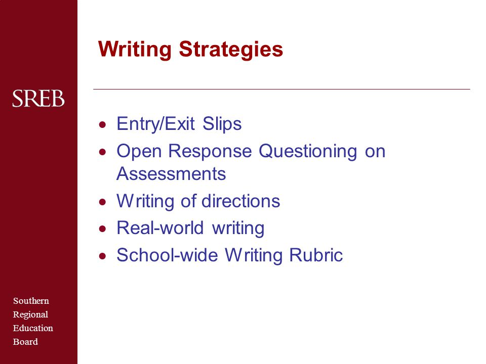 Writing Strategies Entry/Exit Slips