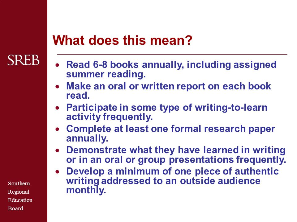 What does this mean Read 6-8 books annually, including assigned summer reading. Make an oral or written report on each book read.