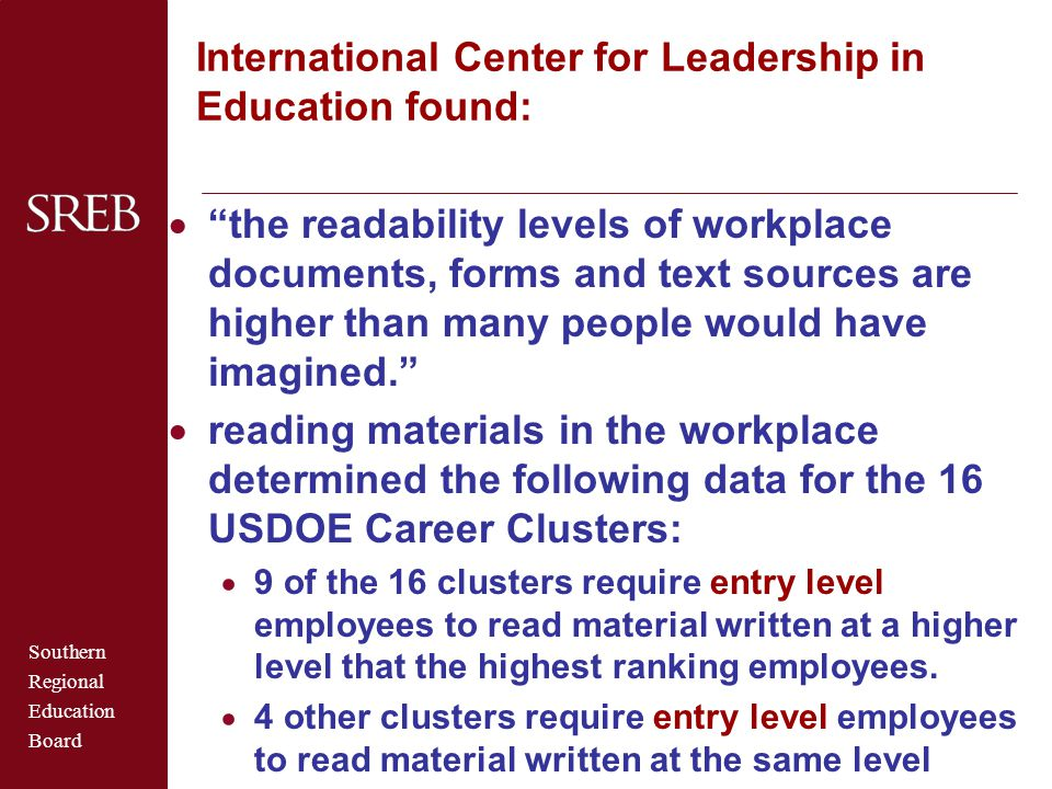 International Center for Leadership in Education found: