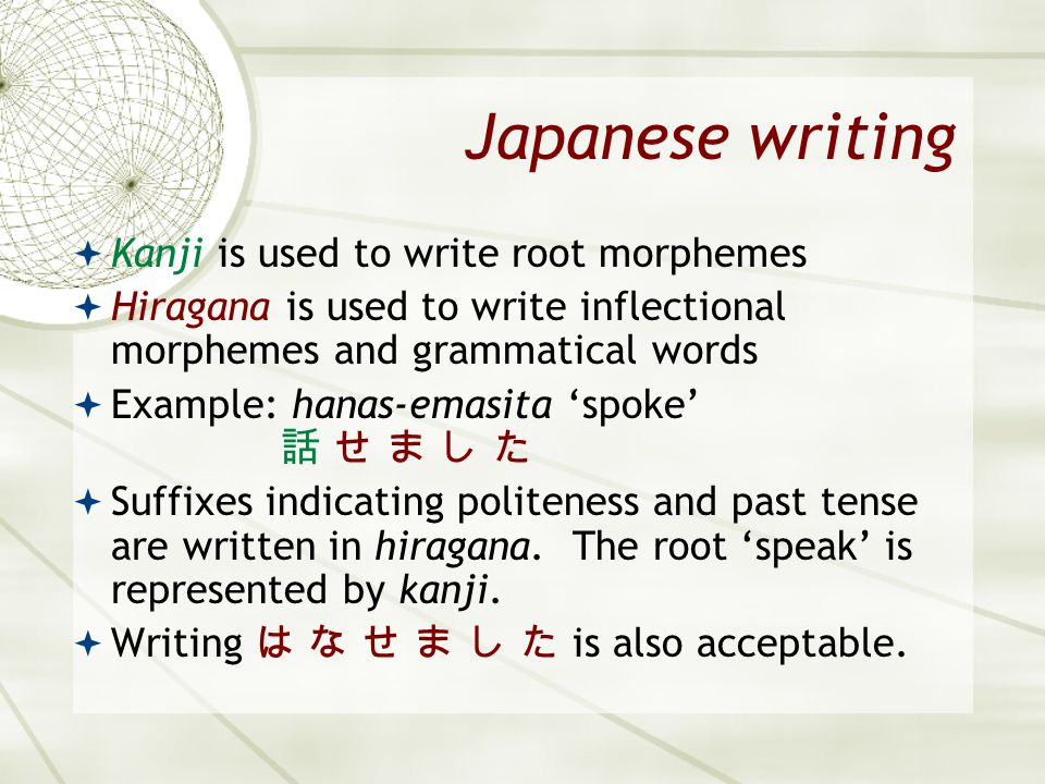 Japanese writing Kanji is used to write root morphemes