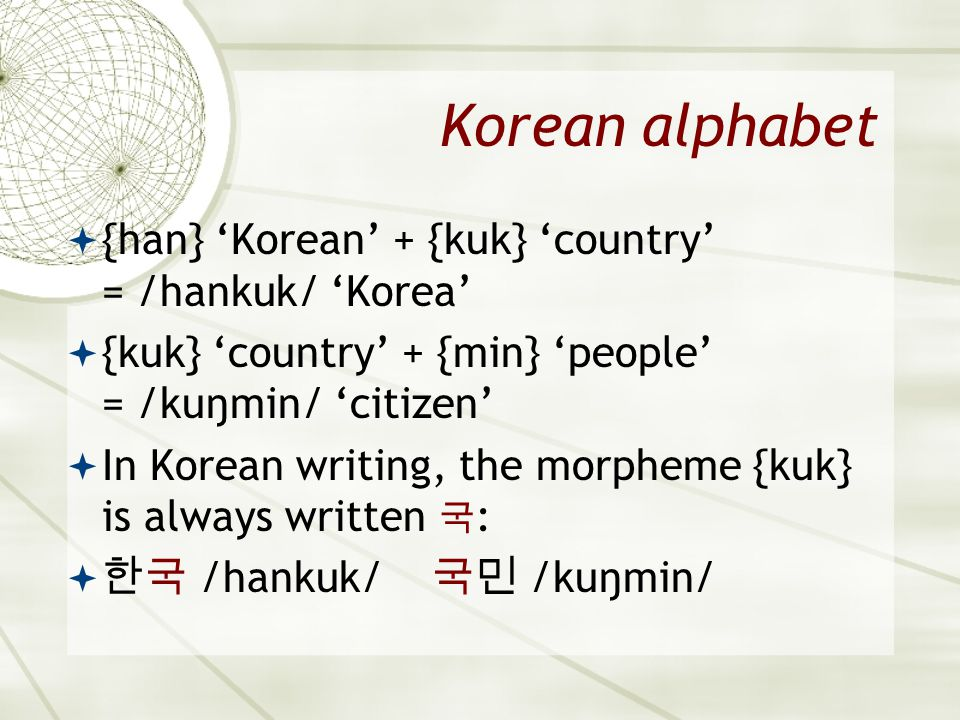 Korean alphabet {han} 'Korean' + {kuk} 'country' = /hankuk/ 'Korea'
