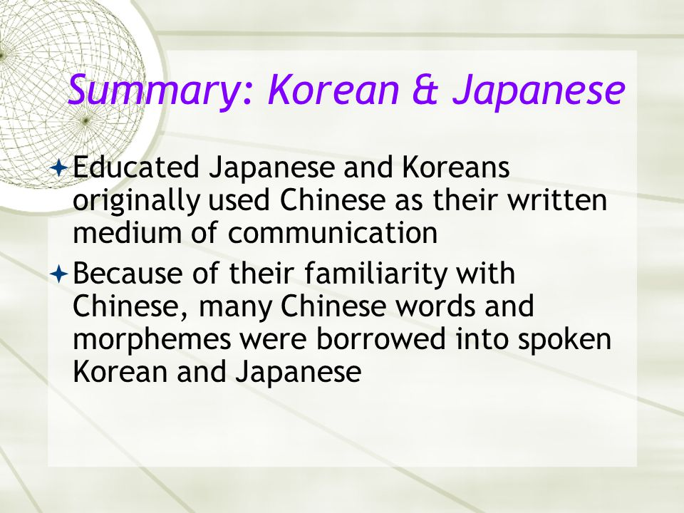 Summary: Korean & Japanese