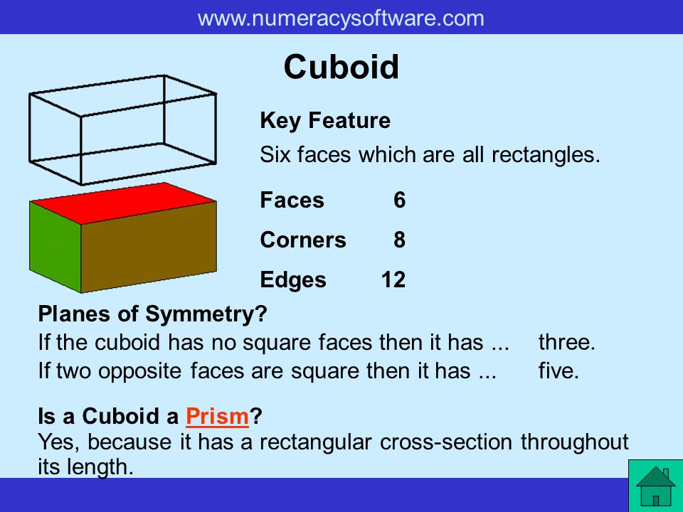 Cuboid Key Feature Six faces which are all rectangles. Faces 6 Corners